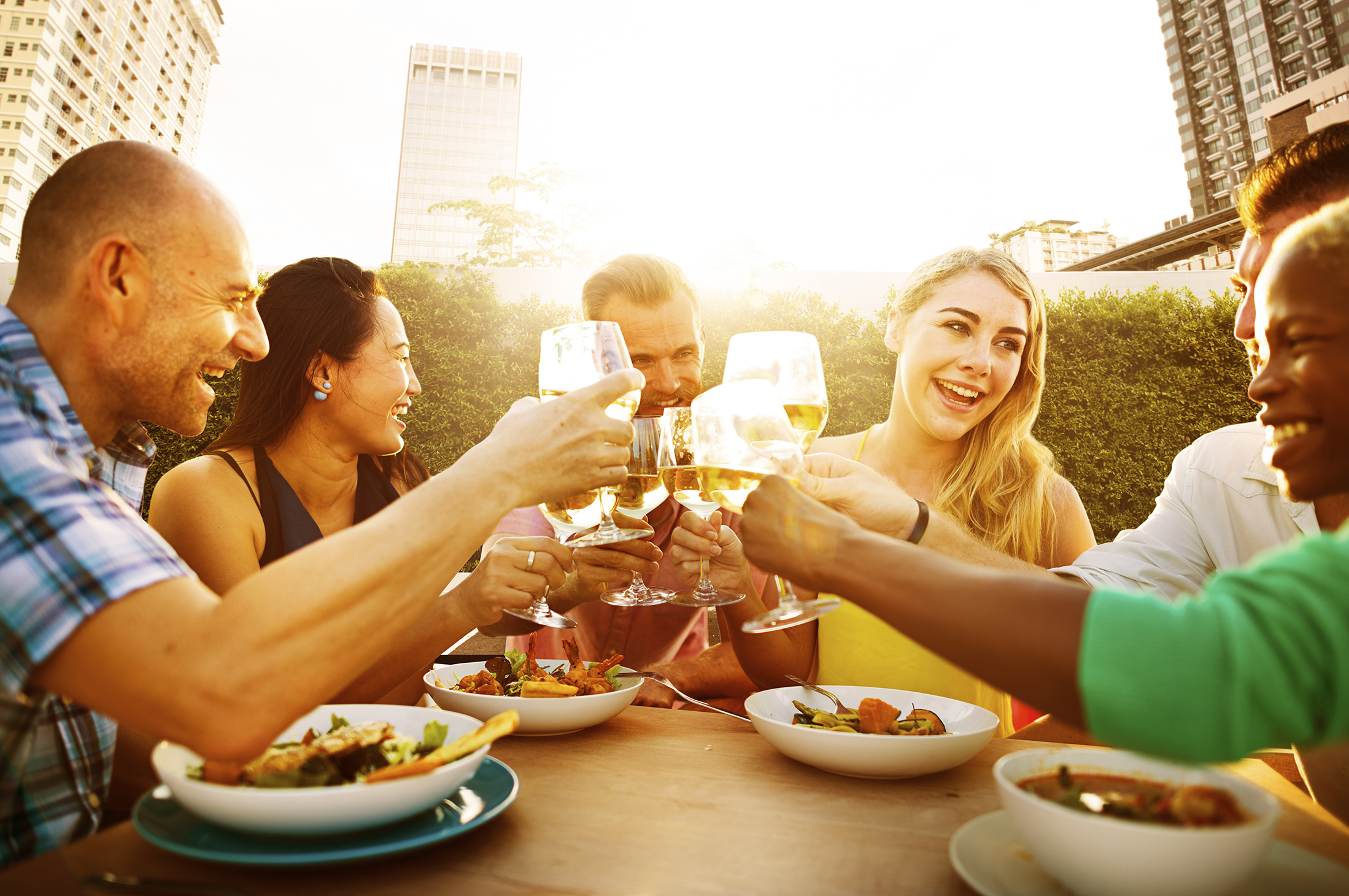 Friends Dining Outdoors Party Cheerful Toast Concept Foodies