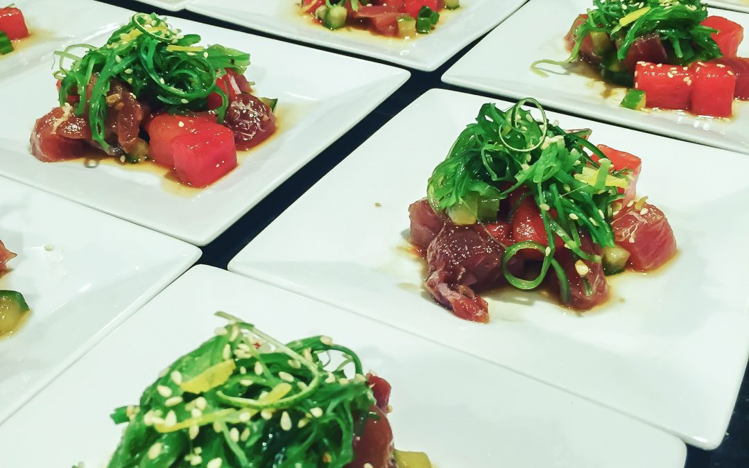 Watermelon Poke with Yellowfin Tuna and Wakame Salad
